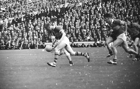 All Ireland Senior Football Championship Final, Kerry v Down, 22.09.1968, 09.22.1968, 22nd September 1968, Down 2-12 Kerry 1-13, Referee M Loftus (Mayo)..Kerry forward runs with ball toward Down goalmouth,