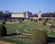 AA00399-02...FRANCE Chateau Chenouceau and its formal Gardens.