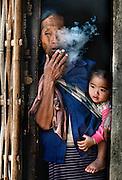 Grandma smoking near Luang Prabang, Laos.