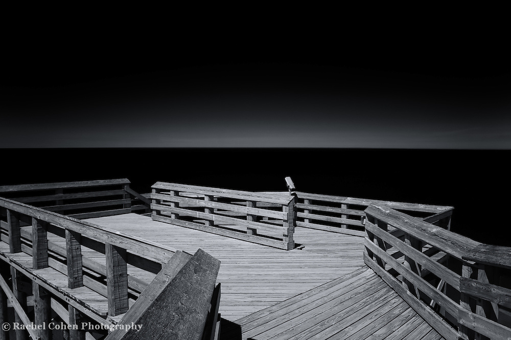 &quot;On the Horizon&quot;<br /> <br /> Beautiful black and white photograph on Lake Michigan at overlook #9, at Sleeping Bear Dunes National Lake Shore.