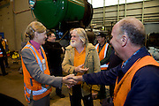 Restoration of Railcorps iconic steam locomotive 3801 at the old Chullora railway workshops. Railcorp General Mananger Operations Group Gavin Campbell and Director of Rail Heritage Marianne Hammerton attend the instalation of the steam engines cylinder liner. It is being given a overhaul by a rail heritage group of volunteers.