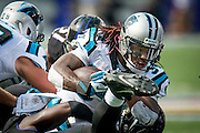 Carolina Panthers running back DeAngelo Williams is tackled during first quarter action against the Baltimore Ravens M&T Bank Stadium on September 28, 2014 in Baltimore, Maryland. UPI/Pete Marovich
