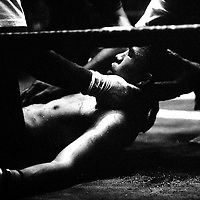 Yangon, Myanmar May 2006<br /> Boxing fighters of the KLN boxing school. Most of them are part of the Karen minority ethnic group.<br /> On this picture: Boxer Htit Chone, 20 years old, finalist of the &quot;fly weight&quot; category during the final match that he had lost.<br /> Photo: Ezequiel Scagnetti