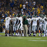 Jacksonville University players huddle together during a Week 1 NCAA football game against Delaware. <br /> <br /> Delaware defeated Jacksonville University 51-35 in their home opener at Delaware Stadium Thursday Aug. 29, 2013 in Newark Delaware.<br /> <br /> Delaware will return home Sept. 7, 2013 at 3:30pm for a showdown with interstate Rival Delaware State in the Route 1 Rivalry Bowl at Delaware Stadium.