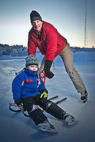 1.20.2012  Breg Veltkamp and his son, Griffin skate at Westchester Lagoon, Anchorage