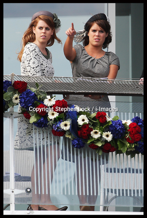Princess's Eugenie and Beatrice at  the Epsom Derby, Saturday, 2nd June 2012.  Photo by: Stephen Lock / i-Images