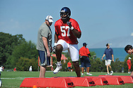 Ole Miss' Terrell Brown (57) goes through a drill as Ole Miss began football practice in Oxford, Miss. on Saturday, August 4, 2012.
