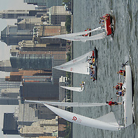 New York. August 22, 2006. Sailing teams from 12 countries, aboard of a fleet of identical J/24 sailboats, are competing at the &quot;Dennis Conner International Yacht Club Challenge&quot;, held from August 22 to 26, 2006 in the NY Harbor.&nbsp;The event is supported by the Harbor Sailing Foundation.<br />