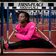 Athlete of the Week Sherita Lowman pose for a photo prior to Charter Invitational Monday, May 9, 2016, at Charter School of Wilmington, in Wilmington Delaware.