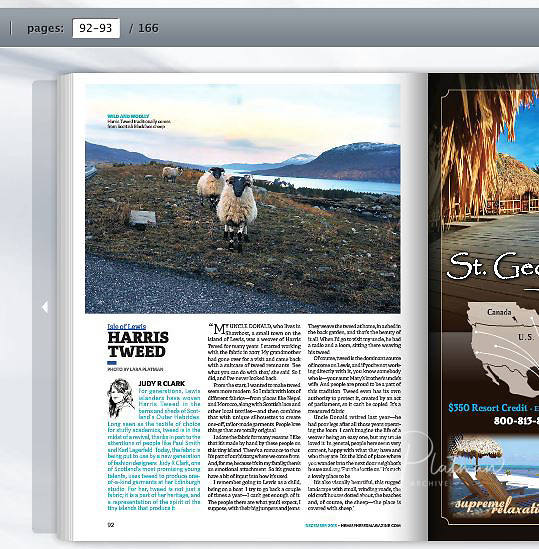 Hemispheres magazine for on board American Airlines  - photo of of one of my Harris Tweed images from book.
