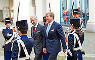 8-11-2013 THE HAGUE –  King Philippe and Queen Mathilde of Belgium visit Dutch king Willem Alexander and Queen Maxima at the Noordeinde Palace during a one day visit. COPYRIGHT ROBIN UTRECHT
