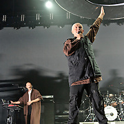 FAIRFAX, VA - October 14th, 2012 - Tony Levin and Peter Gabriel perform at the Patriot Center in Fairfax, VA as part of Gabriel's Back To Front Tour, celebrating the 25th anniversary of his landmark album, So. (Photo by Kyle Gustafson/For The Washington Post)