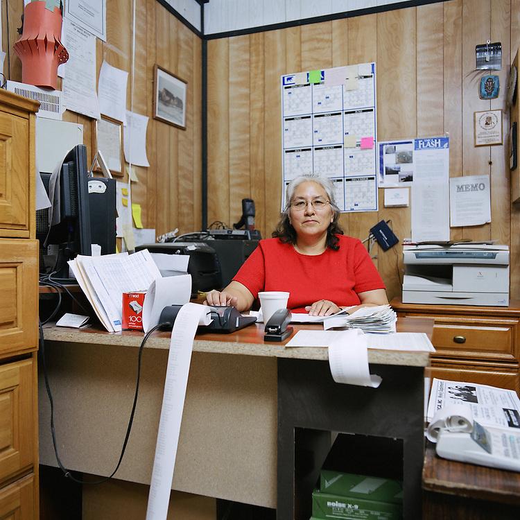 KIVALINA, ALASKA - 2007: Meyra Adams, manager of the Kivalina Native Store.