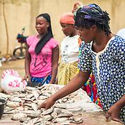 LÉGENDE: Une vendeuse classe fièrement ses poissons. LIEU: Marché de Chagoua, N'Djaména, Tchad. PERSONNE(S): A droite une vendeuse de poissons débout et en arrière plan clientes et vendeuses.