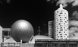 Ahhaa science center sphere and skyscraper Tigutorn in tartu, estonia