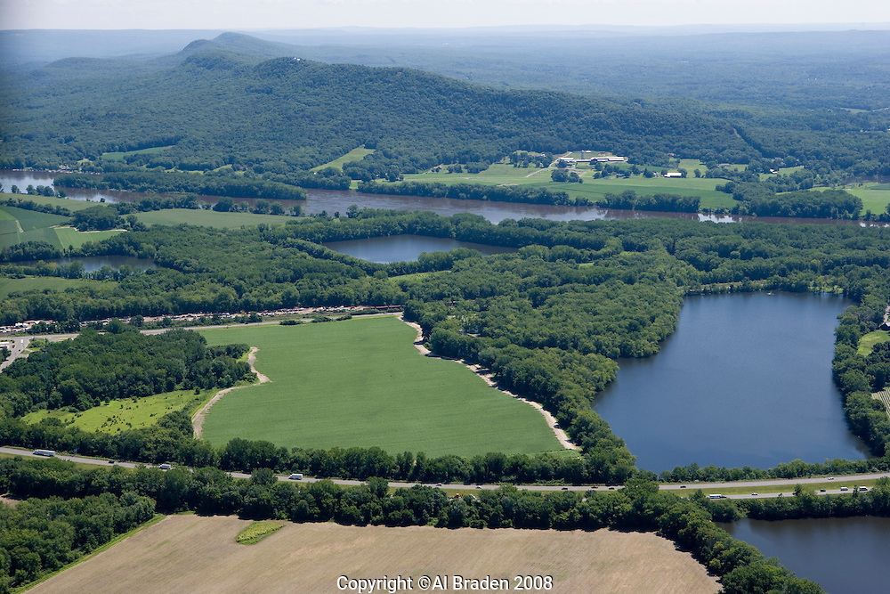 Aerial of Oxbow and Oxbow Marina on Connecticut Rivernear Holyoke Ridge and Mount Tom, Northampton, MA