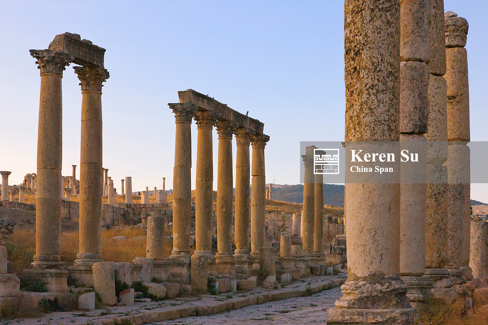 Column street in ancient Jerash ruins, Amman, Jordan