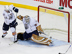 Nov 9, 2008; Newark, NJ, USA; Edmonton Oilers goalie Jeff Drouin-Deslauriers (38) makes a save during the second period of their game against the New Jersey Devils at the Prudential Center.
