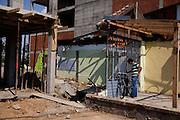 Street scene in Ferizaj, Kosovo. Constrution.