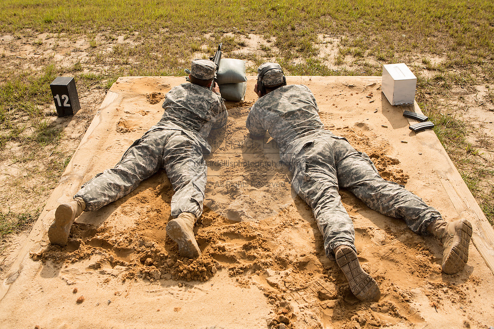 Women Drill Sergeant candidates during a live fire exercise on the range at the US Army Drill Instructors School Fort Jackson September 26, 2013 in Columbia, SC. While 14 percent of the Army is women soldiers there is a shortage of female Drill Sergeants.