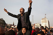 Egyptian protesters chant anti-government slogans during continuing January 26, 2011 demonstrations in downtown Cairo, Egypt. A series of unprecedented demonstrations have broken out across Egypt for the past two days, inspired by the revolution in Tunisia, and intended to spark a similar movement in Egypt.(Photo by Scott Nelson)