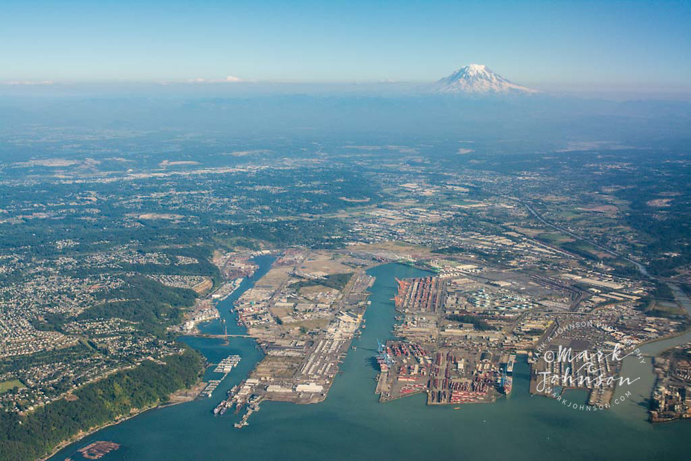 Aerial view of the Port of Tacoma, Seattle, Washington area, Mt. Rainier in the background, USA