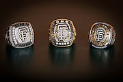 SAN FRANCISCO, CA - APRIL 21:  Bruce Bochy's three world series rings. Tuesday, April 21 2015 in San Francisco, California. Photo by Jean Fruth