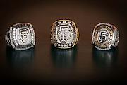 SAN FRANCISCO, CA - APRIL 21:  Bruce Bochy's three world series rings. Tuesday, April 21 2015 in San Francisco, California. Photo by Jean Fruth