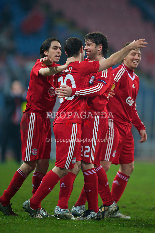 BUCHAREST, ROMANIA - Thursday, February 25, 2010: Liverpool's Javier Mascherano celebrates scoring the equalising first goal against FC Unirea Urziceni with team-mate Emiliano Insua during the UEFA Europa League Round of 32 2nd Leg match at the Steaua Stadium. (Photo by David Rawcliffe/Propaganda)