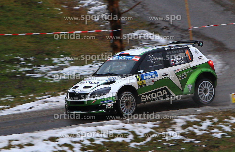 04.01.2013, Freistadt, AUT, FIA European Rally Championship 2013, Jaenner Rallye, SP1, im Bild Jan Kopecky (CZE) und Pavel Dresler (CZE) mit Skoda Fabia S2000, Skoda Motorsport // during SP1 of the January Rallye oft the FIA European Rally Championship 2013, Freistadt, Austria on 2013/01/04. EXPA Pictures © 2013 PhotoCredit: EXPA/ Stephan Woldron
