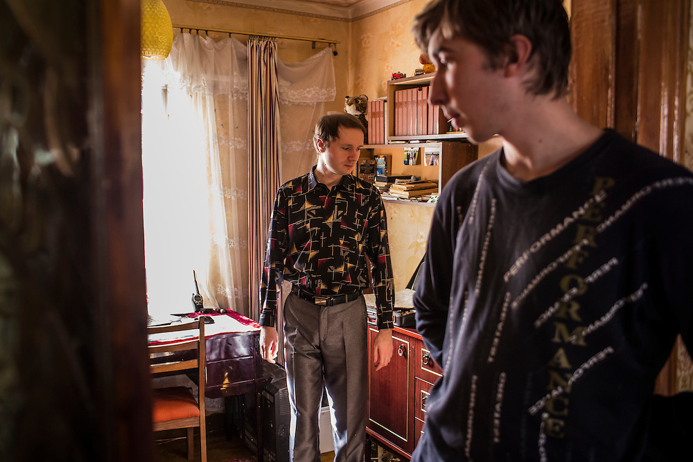 LUHANSK, UKRAINE - MARCH 16, 2015: Aleksandr Kryukov, left, and Pavel Pavlov in the house where Kryukov lives with his grandmother in Luhansk, Ukraine. The two have created a series of popular YouTube videos involving scientific experiements. CREDIT: Brendan Hoffman for The New York Times
