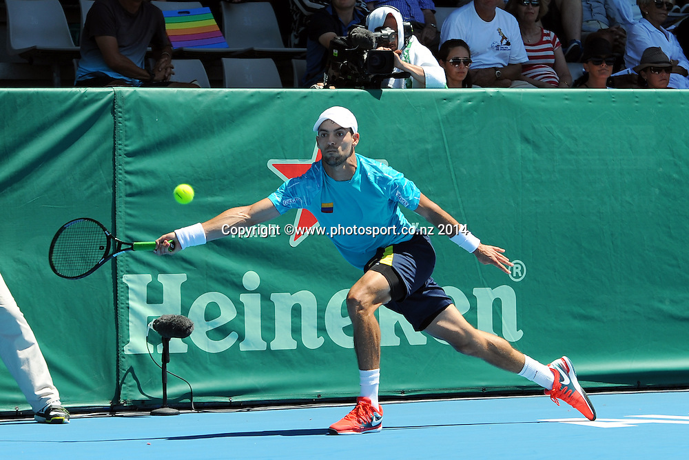 Santiago Giraldo of Colombia during the Heineken Open Day1. ASB Tennis Centre,  Auckland, New Zealand. Monday 6 January 2014. Photo: Chris Symes/www.photosport.co.nz