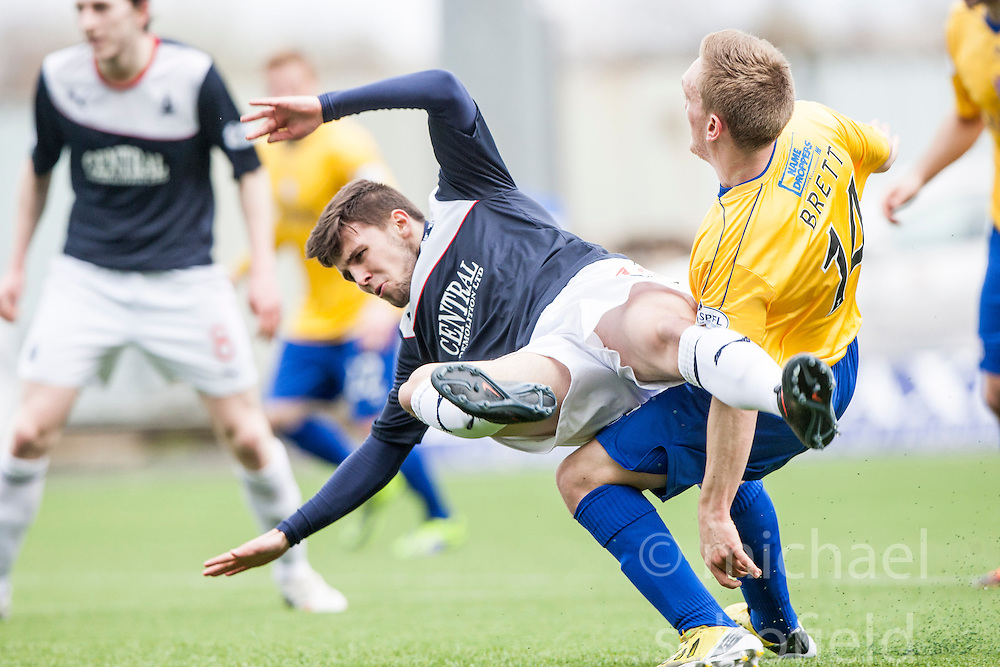 Falkirk&rsquo;s Lewis Small tackled by Cowdenbeath's Dean Brett.<br /> half time : Falkirk v Cowdenbeath, Scottish Championship game played today at The Falkirk Stadium.<br /> &copy; Michael Schofield.