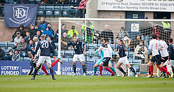Falkirk's Mark Beck (behind 20) scoring their goal.<br /> half time : Dundee 0 v 1 Falkirk, Scottish Championship game played today at Dundee's Dens Park.<br /> &copy; Michael Schofield.