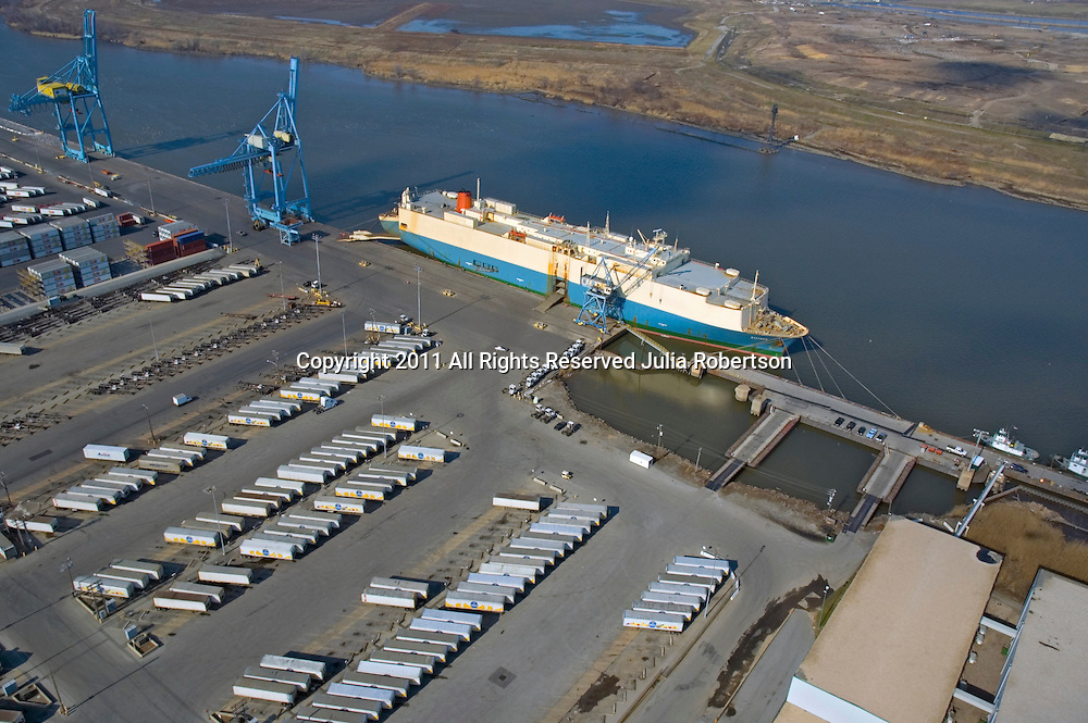 Aerial view of Car Container Vessel docked at port of Wilmington,  Wilmington Delaware