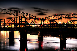 Broadway Bridge at Sunset, carrying traffic across the Missouri River