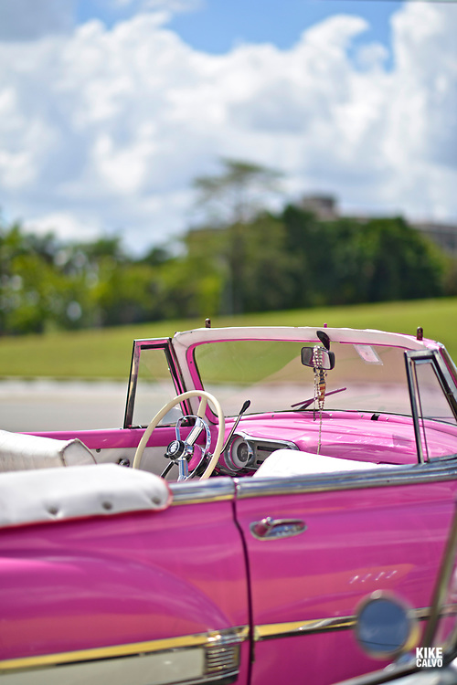 Old American pink convertible