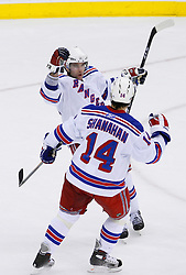 February 1, 2008; Newark, NJ, USA;  New York Rangers center Chris Drury (23) and New York Rangers left wing Brendan Shanahan (14) celebrate Drury's empty net goal during the third period at the Prudential Center in Newark, NJ. The goal was Drury's second of the game and his 500th career point. The Rangers defeated the Devils 3-1.