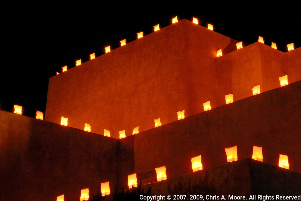 Luminaria outline the Hotel Santa Fe in Santa Fe, New Mexico on Christmas Eve 2007.  This is the influence of the Hispanic population that built Santa Fe.