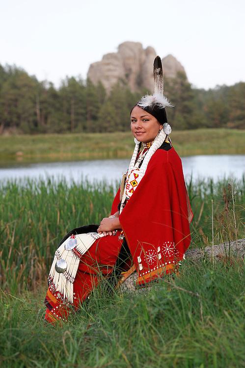 Terra Houska at Lakota Lake, Traditional Dress, Lakota, Native American Indian, Black Hills, South Dakota, USA