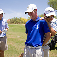 Grayson Murray (dark blue shirt), Andrew Knox (striped shirt) and Billy Kennerly (all white) clown around at the Thunderbird International Junior tournament.