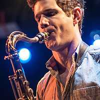 Ben Wendel plays tenor saz with the band Kneebody at the Culture Project Theater with Adam Benjamin on piano, Kaveh Rastegar on bass, Nate Wood on drums and Shane Endsley on trumpet during the NYC Winter Jazz Fest, New York City, NY, Friday January 11, 2013.