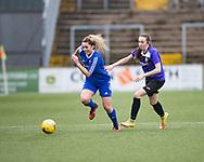 Farmington's Megan McCarthy races past East Fife's Lauren Wheatley in her side's 4-1 win - Forfar Farmington v East Fife in the Scottish Womens' Premier League 2 at Station Park in  Forfar : Image &copy; David Young<br /> <br />  - &copy; David Young - www.davidyoungphoto.co.uk - email: davidyoungphoto@gmail.com