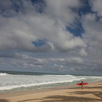 Surfing on the North Shore. A surfer prepares to enter the water.