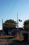 A Blackshirts flag flies high over North Platte, Nebraska.