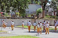 School kids playing volleyball  in San Diego de los Banos, Pinar del Rio, Cuba.