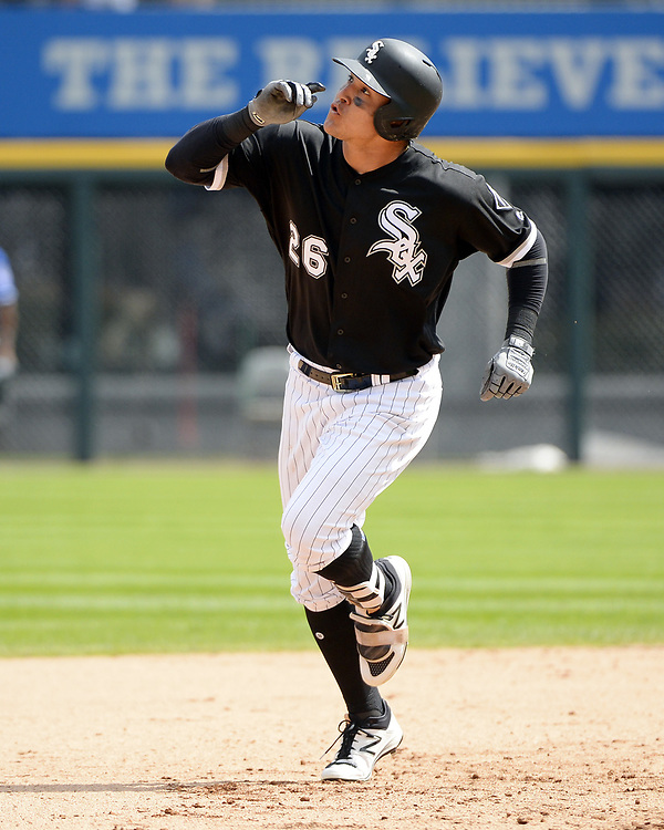 CHICAGO - APRIL 26:  Avisail Garcia #26 of the Chicago White Sox runs the bases after hitting a two-run home run in the sixth inning against the Kansas City Royals on April 26, 2017 at Guaranteed Rate Field in Chicago, Illinois.  The White Sox defeated the Royals 5-2.  (Photo by Ron Vesely)   Subject:  Avisail Garcia