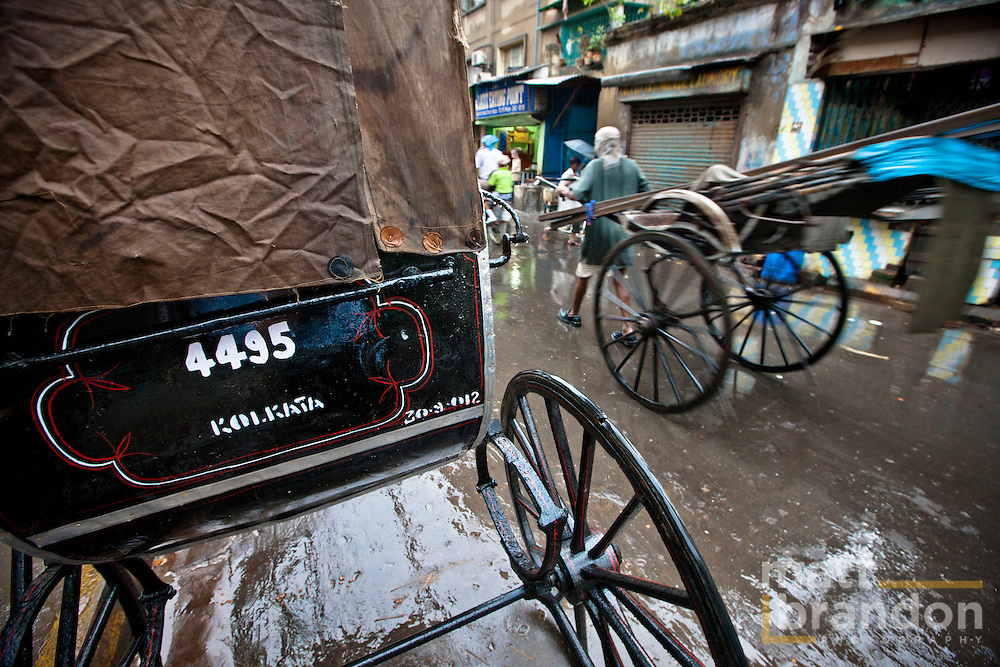 The pull rickshaw of Kolkata, India.