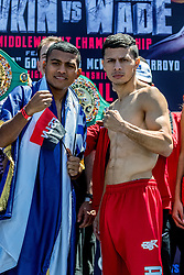 LOS ANGELES, CA - APRIL 22 Roman Gonzalez (44-0, 38 KOs) stopped the scale at 111.4 pounds and McWilliams Arroyo (18-0, 12 KOs) weighted 111.6 pounds during the official weigh-in for their fight Saturday Night at The Forum in Inglewood in Los Angeles. 2016 April 22.  Byline, credit, TV usage, web usage or link back must read SILVEXPHOTO.COM. Failure to byline correctly will incur double the agreed fee. Tel: +1 714 504 6870.