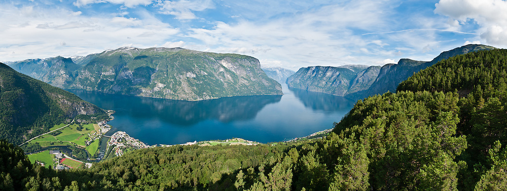 Stegastein viewpoint gives a dramatic view of Aurlandsfjord, a branch of Sognefjord, the second longest fjord in the world and the longest in Norway. From Aurland, drive Aurlandsvegen mountain road up to Stegastein, in Sogn og Fjordane county, Norway. Panorama stitched from 8 overlapping photos.